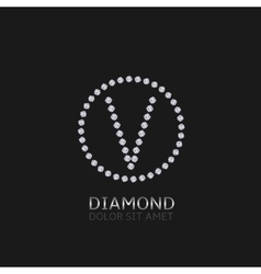 V letter with diamonds vector