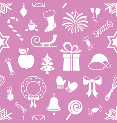 violet endless pattern with christmas icons vector image