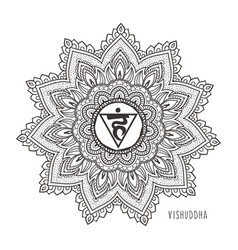 vishudda fifth chakra throat vector image