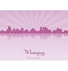 Winnipeg skyline in purple radiant orchid vector