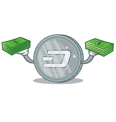 With money dash coin character cartoon vector