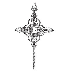 Wrought-iron tomb cross vintage vector