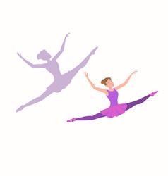young ballerina flying high and far with enjoyment vector image