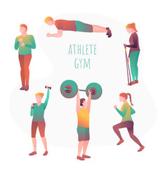 Young people doing workout with sports equipment vector