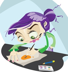 A funky cartoon hard at work painting vector image vector image