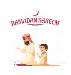 arab muslims ramadan kareem cartoon vector image