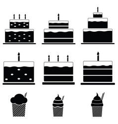 birthday cakes icon set vector image