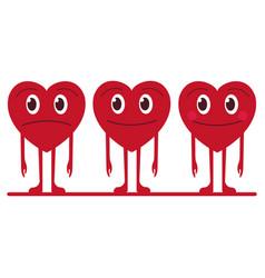 funny happy smiley hearts set vector image