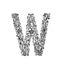 letters floral w vector image