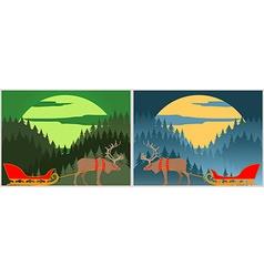 Santas sleigh with north deer Lapland Winter vector image