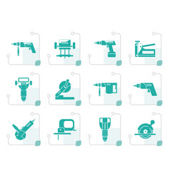 stylized building and construction tools icons vector image