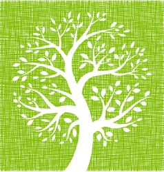 White Tree icon on Green Canvas texture vector image vector image