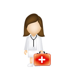 woman doctor with suitcase icon vector image vector image
