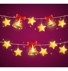 Christmas Background with Star and Bells vector image vector image