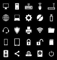 Computer icons on black background vector image