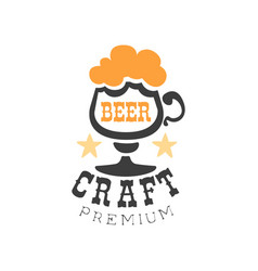 emblem with glass of craft beer with foam vector image vector image