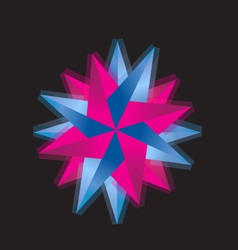 Pink and blue abstract rose logo vector image