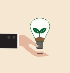 Ecology light bulb on businessman hand vector image vector image