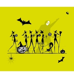 Halloween holiday young witches for your design vector image