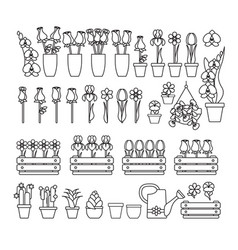 set of cute flower icon isolated on whi vector image
