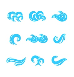 Wave icons set vector image