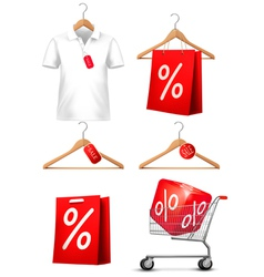 Clothes hanger with shirts with price tag Concept vector image vector image