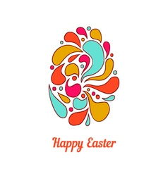 Greeting card with full color doodle easter egg-2 vector image vector image