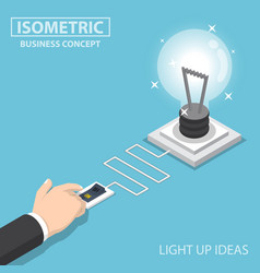 isometric businessman hand pushing switch to turn vector image vector image