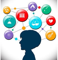 Person head full of science icons vector image
