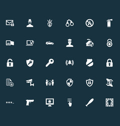 set of simple secure icons vector image