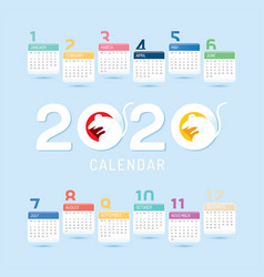 2020 calendar 2020 chinese new year 2020 year vector image