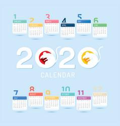 2020 calendar chinese new year year vector