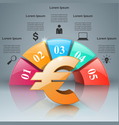 3d infographiceuro money icon vector image