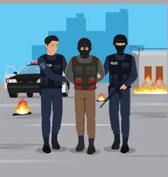A terrorist arrested vector