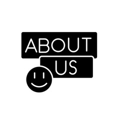 About us black glyph icon vector