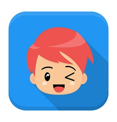 Anime boy flat app icon with long shadow vector
