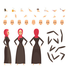 Arab woman constructor set vector