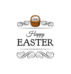 basket full of easter eggs decoration element vector image