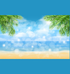 Beach with palm trees and highlights background vector