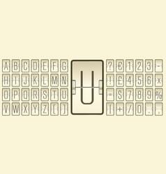Beige terminal scoreboard narrow font to display vector
