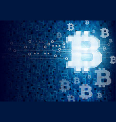 bitcoin digital design on circuit board vector image