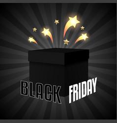 Black friday sale box on black background vector