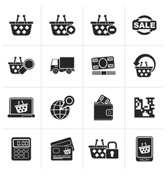 Black shopping and retail icons vector