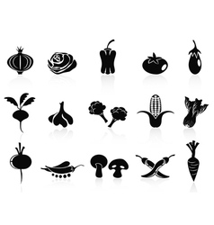 Black vegetable icons set vector