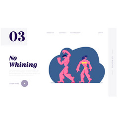 Bodybuilding competition website landing page vector