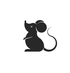 Cartoon black rat or mouse silhouette isolated on vector
