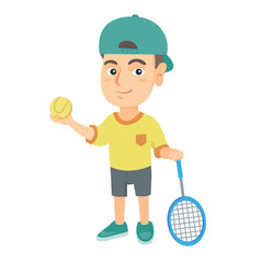 caucasian tennis player holding racket and ball vector image