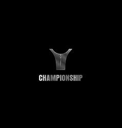 Championship trophy logo design - sport ball vector