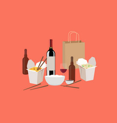 chinese food take away with wine and beer vector image