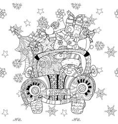 Christmas car gift doodle zentangle vector image